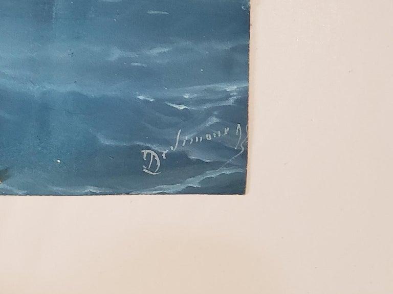 Steam Liner A Marine Gouache Landscape Painting by Tommaso De Simone For Sale 2