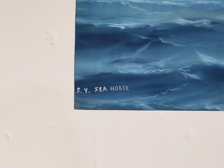 Steam Liner A Marine Gouache Landscape Painting by Tommaso De Simone For Sale 3