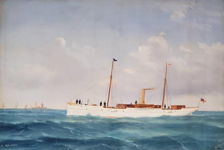 Steam Liner A Marine Gouache Landscape Painting by Tommaso De Simone For Sale 1