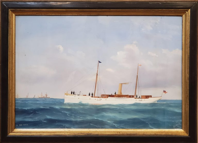 """S.Y. Seahorse Steam Liner, A Marine Gouache Landscape Painting by Tommaso De Simone.  An Italian Gouache painting by Tommaso De Simone (1805-1888).  This maritime gouache measures 16.5"""" tall by 24"""" wide. In the frame this seascape gouache measures"""