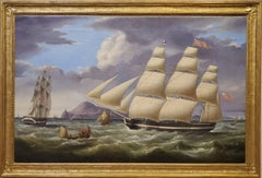 Princess Charlotte a Landscape Oil Painting of Ships Signed by Miles Walters