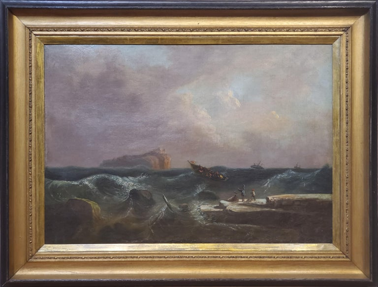 """Dutch Marine Landscape Painting circa 1865.  Oil on canvas, unsigned, this maritime painting measures 32.5"""" wide and 23 1/4"""" tall.  In the frame the seascape measures 42"""" wide and 32"""" tall."""