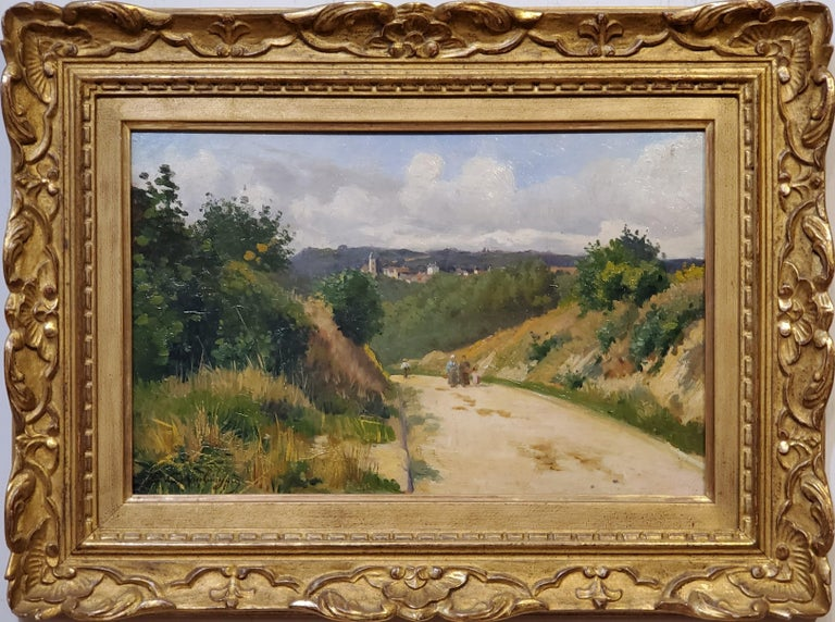 "French Countryside Landscape Oil Painting Signed by Emile Cambiaggio  French 1857-1930  Oil on wood panel, 10 3/8"" x 16 1/8"" panel size.  Signed."