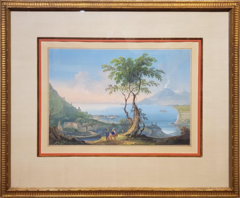 Unknown Landscape Art - Italian Gouache Painting Depicting Mt Vesuvius