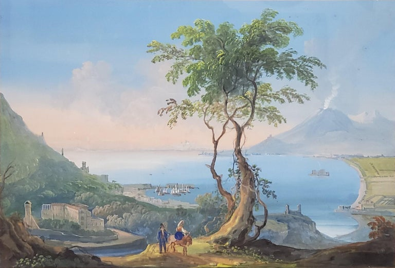Italian Gouache Painting Depicting Mt Vesuvius - Art by Unknown