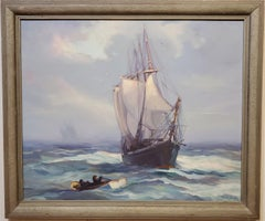 Sailing Ship A Landscape Oil Painting by Alice Estelle James