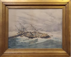 Marine Watercolor Landscape Painting signed by Eisen