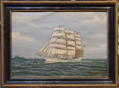 Danish Marine Landscape Painting signed by K Hansen