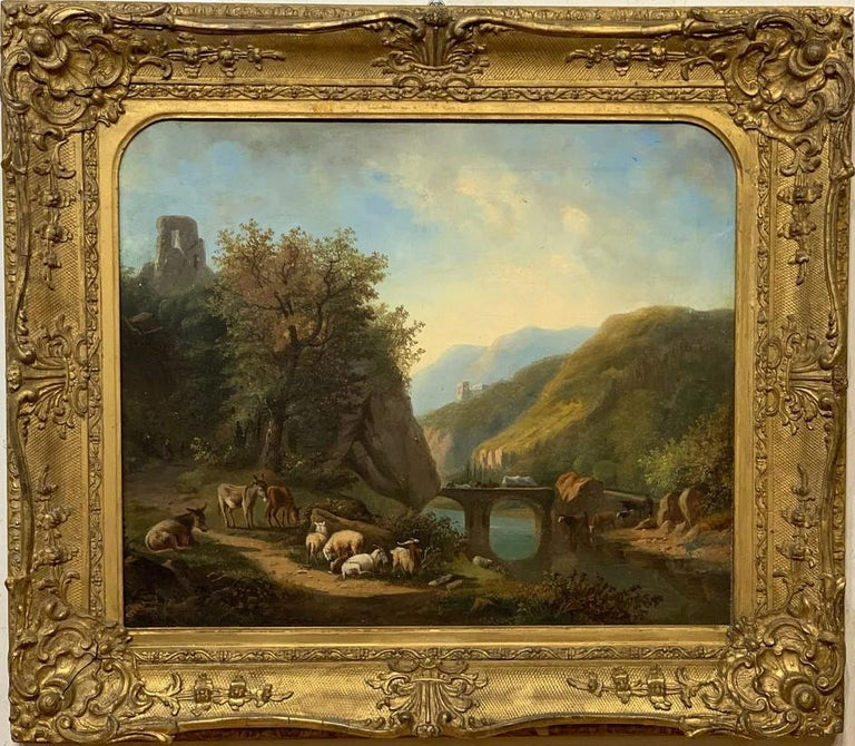 """Dutch School Early 19th Century Landscape Oil Painting.  This work of art measures 20"""" tall by 23.5"""" wide and is oil on canvas laid down on masonite.  In the frame the Dutch School Landscape measures 28"""" tall by 32"""" wide."""