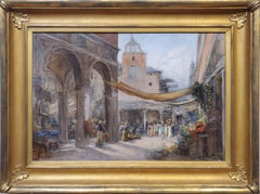 Middle Eastern Outdoor Market An Oil painting On Canvas by Walter Francis Brown