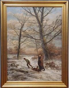 A Family Walking Through A Dutch Winter Landscape