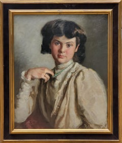 Portrait Of A Woman Pulling On Her Necklace an Oil Painting by Ronald Gray
