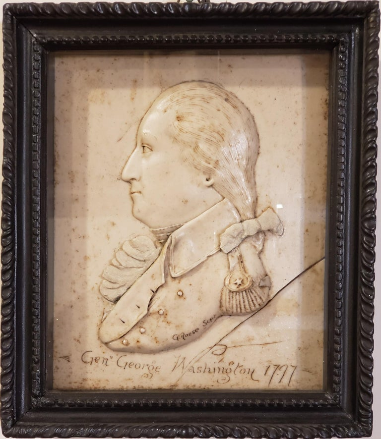 """George Washington Related  General George Washington Wax Portrait Shadow Box Framed Display & Artist Signed """"G. Rouse"""".   G. Rouse is reported to have forged this and others like it in London circa 1924. There is no reason to believe that there ever"""
