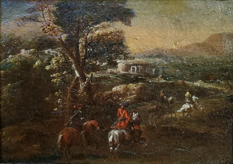 Dutch Soldiers Riding Horses Across A Landscape - Painting by (After) Adam Frans van der Meulen