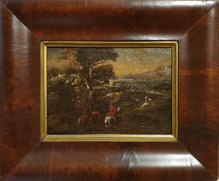 (After) Adam Frans van der Meulen Animal Painting - Dutch Soldiers Riding Horses Across A Landscape