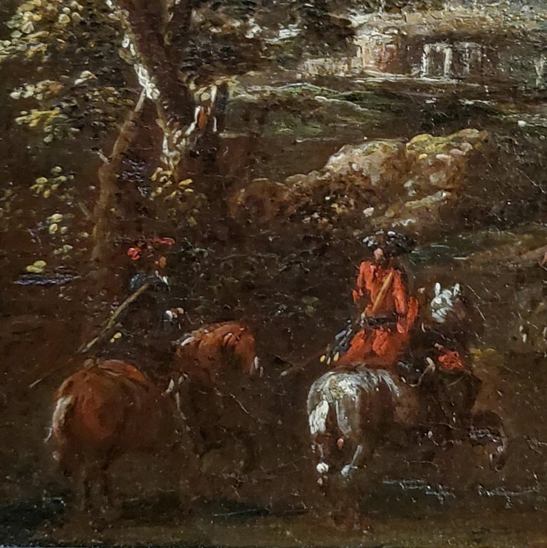 Dutch Soldiers Riding Horses Across A Landscape - Old Masters Painting by (After) Adam Frans van der Meulen