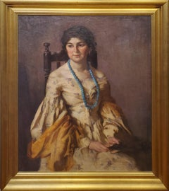 The Little Brunette is a Portrait Painting Signed by Mary Rosamond Coolidge