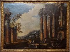 Italian School Capriccio Oil Painting of Roman Ruins