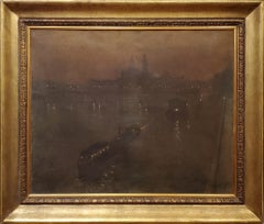 Twilight View of Seine River in Paris Signed Oil Landscape Painting