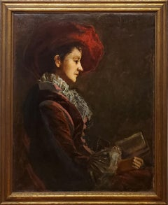 Impressionist Portrait Painting of A Woman in a Red Hat Reading A Book