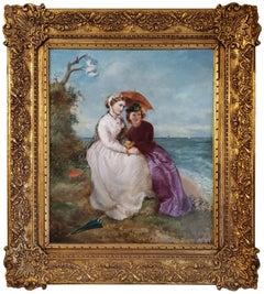 Victorian Portrait Of Women In A Landscape By The Ocean