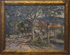 Landscape Painting of a Covered Bridge signed by Earl A. Titus dated 1937
