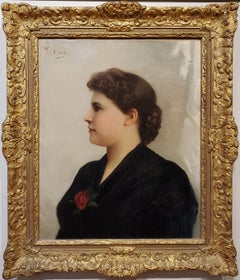 Portrait of a Woman an Oil Painting signed by Guiseppe Costa
