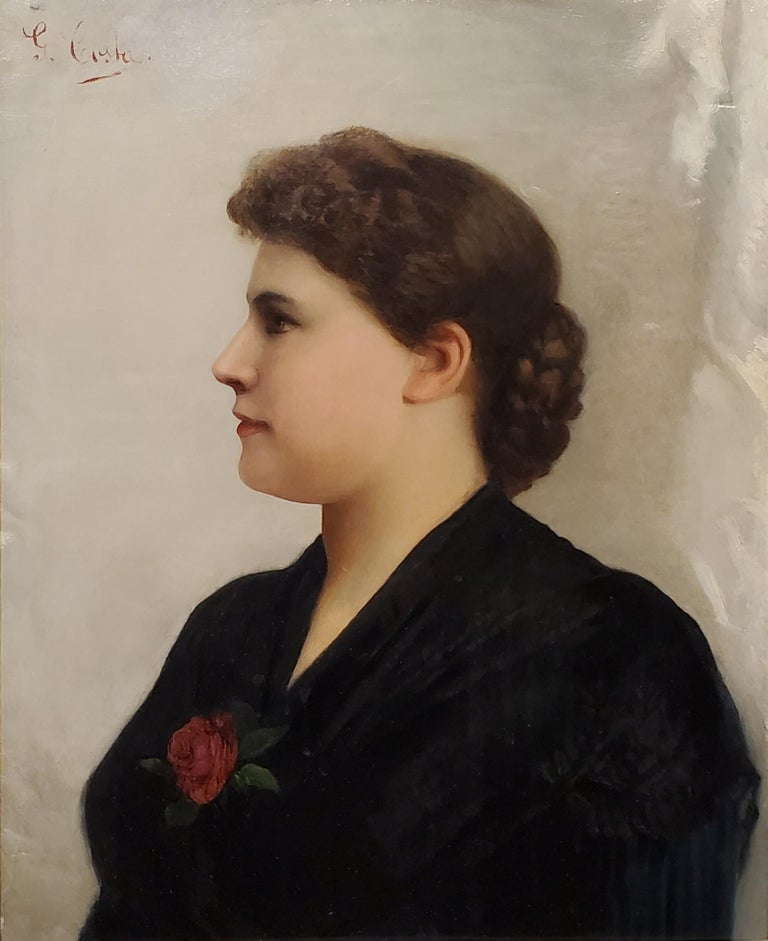 Portrait of a Woman an Oil Painting signed by Guiseppe Costa.  Oil on canvas, approximately 20