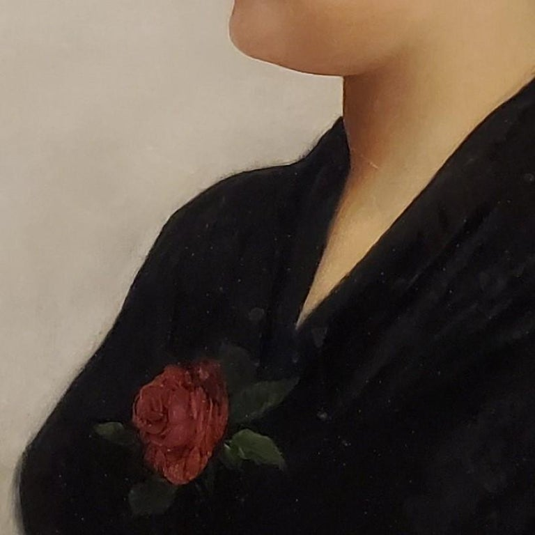 Portrait of a Woman an Oil Painting signed by Guiseppe Costa For Sale 3