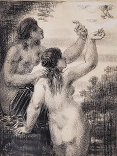 Charcoal Drawing of Two Women Chasing A Cherub by William Perkins Babcock