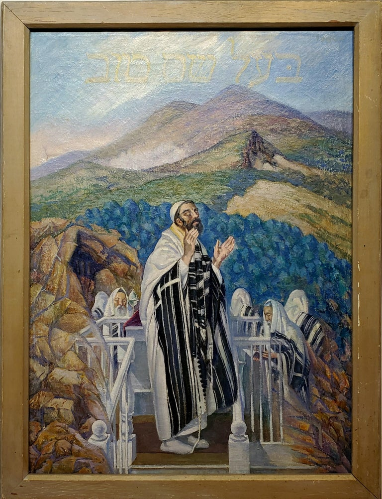 Israel Doskow Portrait Painting - Ba'al Shem Tov Leading Prayer On A Top of a Mountain