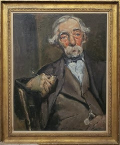 """Old Man With A Pipe"" signed by August F. Lundberg, American 1878-1928"