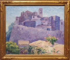 Landscape Painting of a European City dated 1916 by Pluma Brown