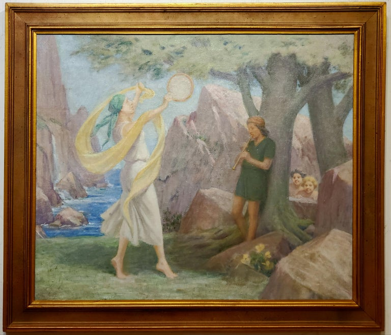 Charles E. Mills Landscape Painting - Allegorical Oil Painting In Pastel Colors By Charles Mills