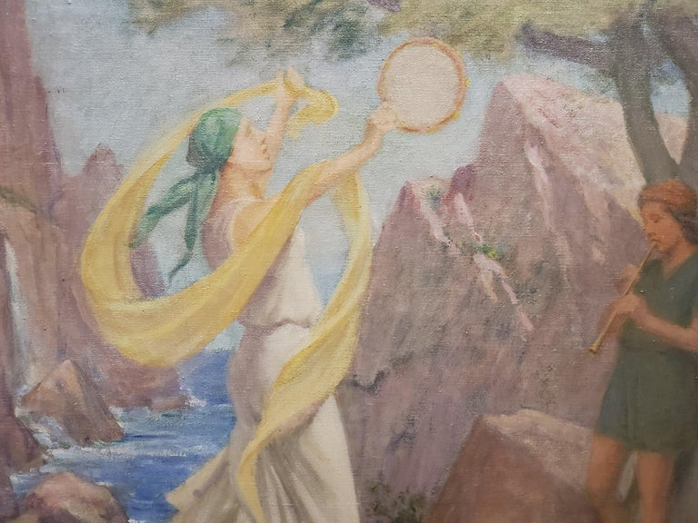Allegorical Oil Painting In Pastel Colors By Charles Mills For Sale 1