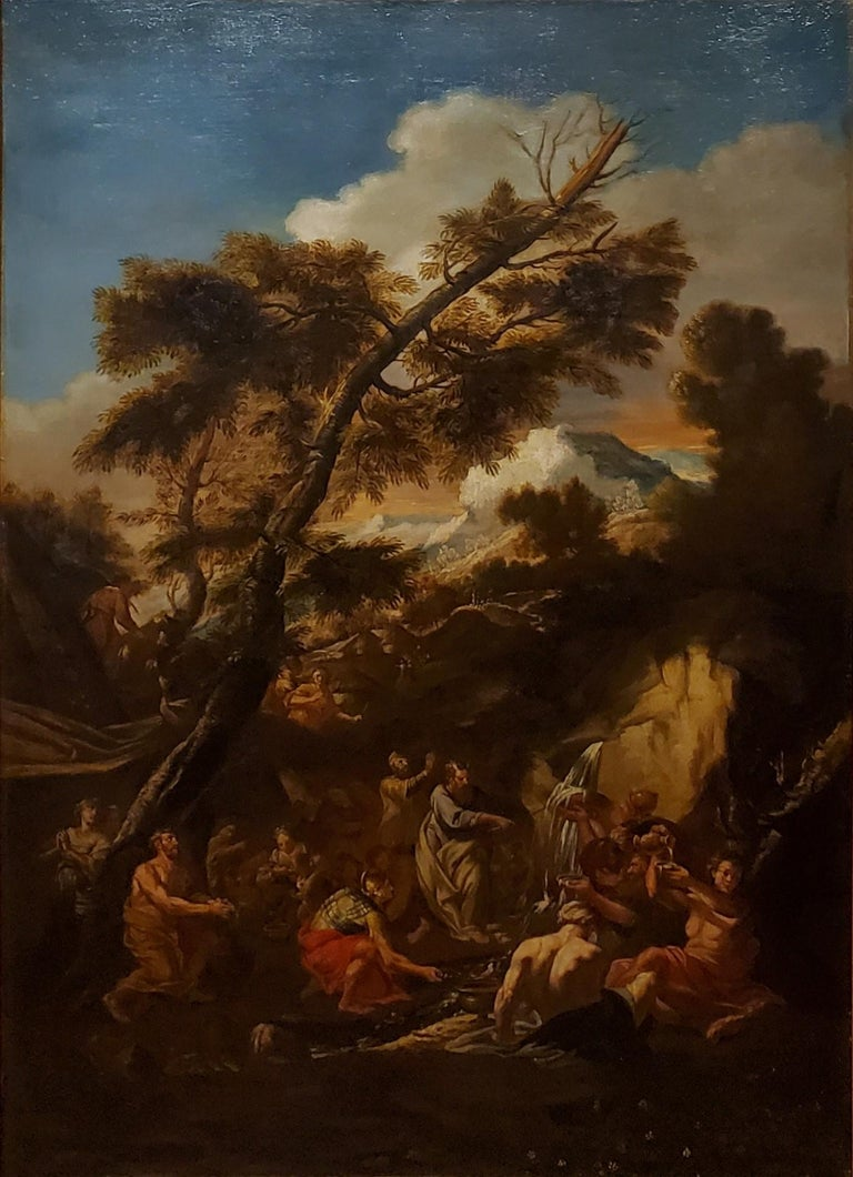 Old Masters Painting of Moses Striking the Rock,  Follower of P. F. Mola - Black Figurative Painting by Pier Francesco Mola (follower of)