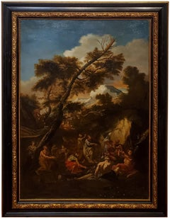 Old Masters Painting of Moses Striking the Rock,  Follower of P. F. Mola