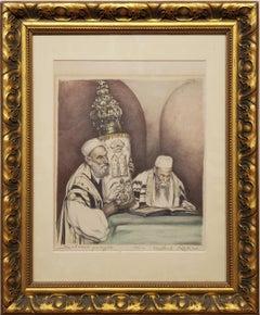 Rabbi Carrying a Torah scroll