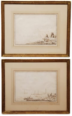 Pair of 18th Century Sepia Drawings by Anthony Thomas Devis
