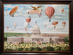 Grand 19th century Aeronautical Spectacular Over the US Capitol by Morris Flight