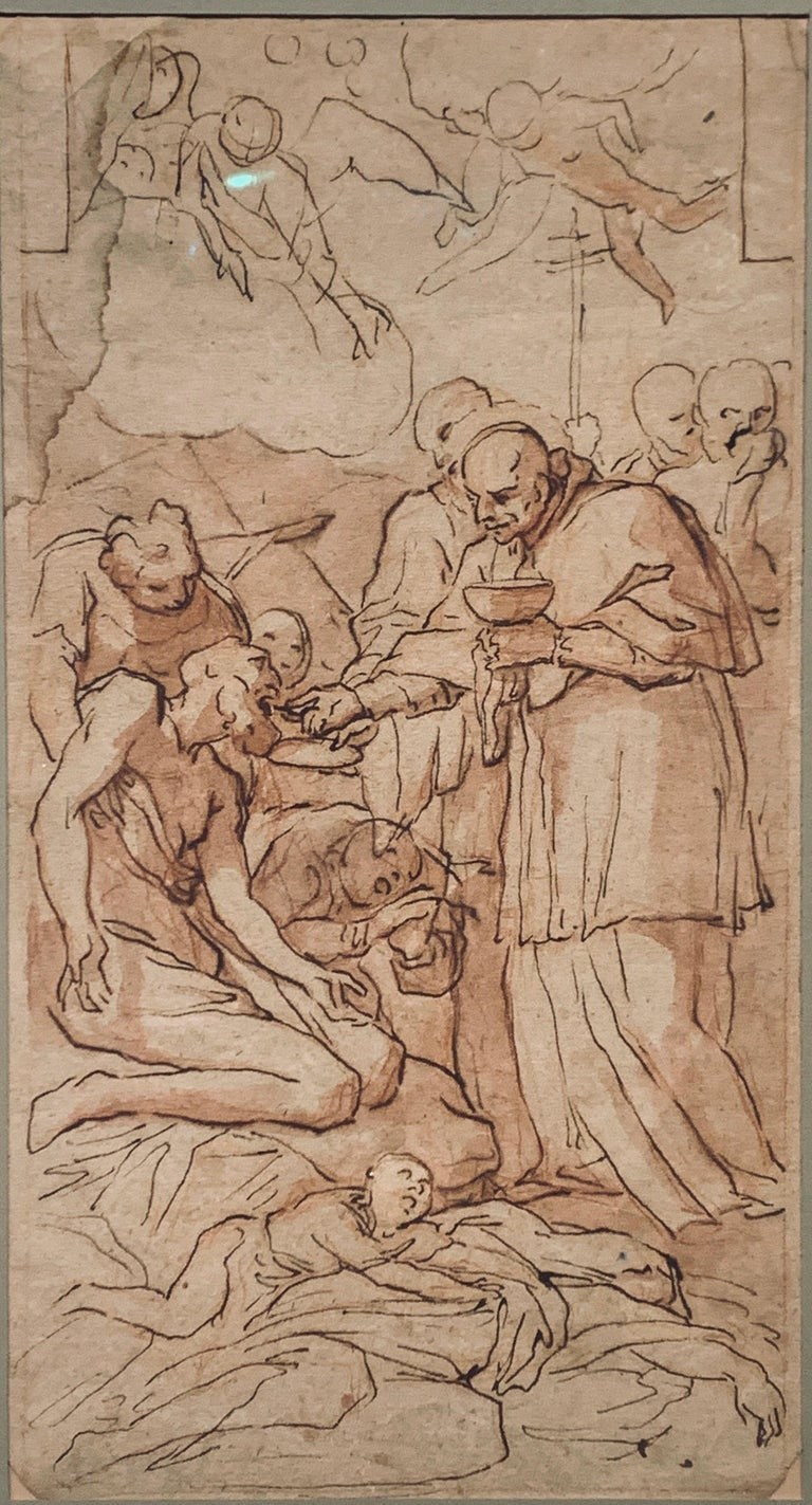 Old Master Italian Drawing of Saint Gerome, 18th Ink Wash - Art by Unknown