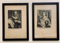 After Anthony Van Dyke, pair of Engavings of Barbe and Poellenburgh, 17th C