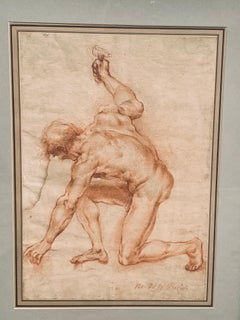Sepia Drawing of a Male Nude Holding an Anvil, Attributed G. Bazzini 1690-1769