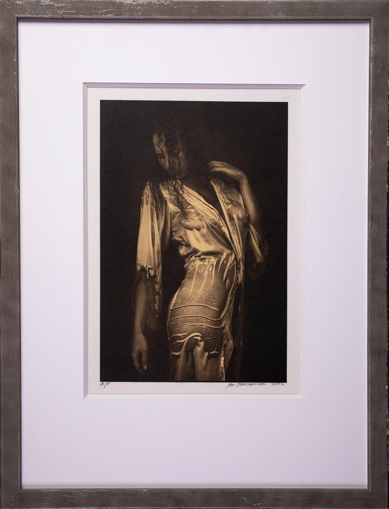 Nathalie - Platinum Palladium print on vellum over 24 carat gold,limited edition - Photograph by Ian Sanderson