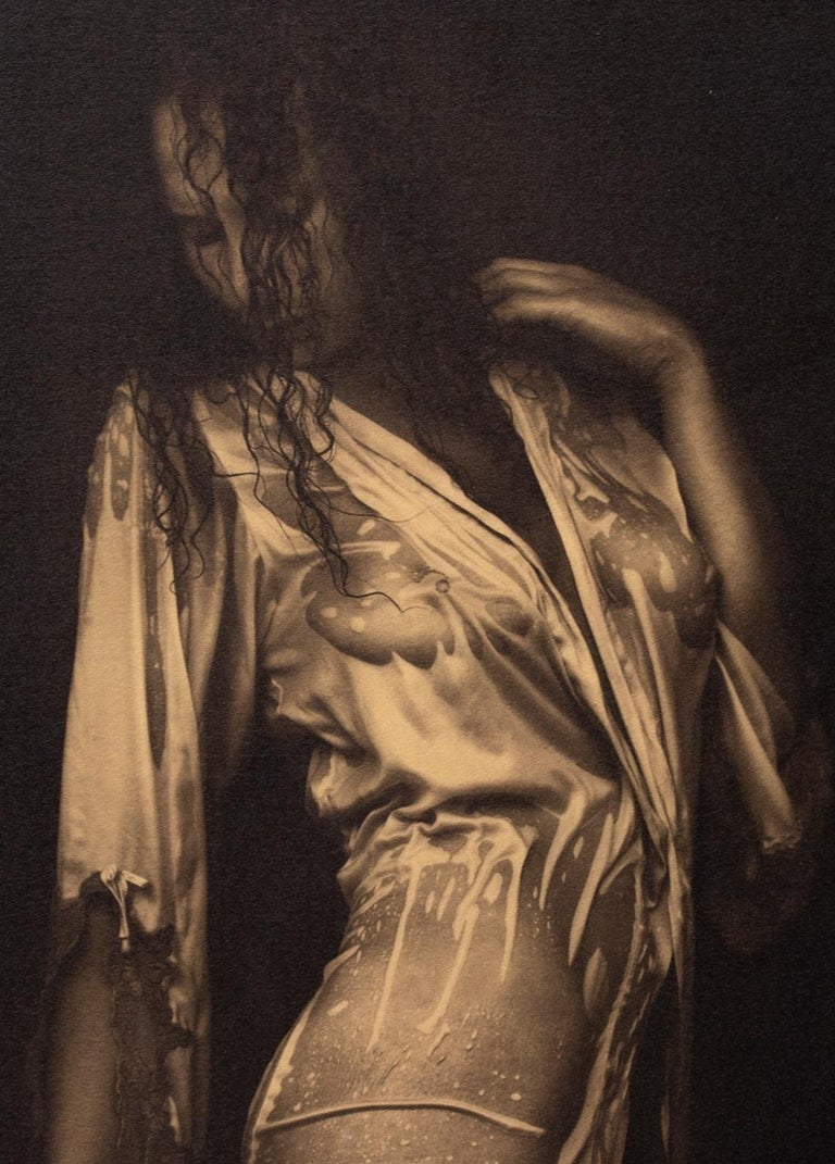 Nathalie - Platinum Palladium print on vellum over 24 carat gold,limited edition - Contemporary Photograph by Ian Sanderson