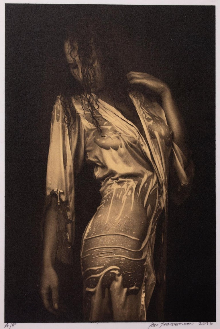 Ian Sanderson Figurative Photograph - Nathalie - Platinum Palladium print on vellum over 24 carat gold,limited edition