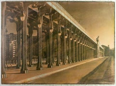 'Le Pont de Bir-Hakeim' - Gum Bichromate,bridge,color,21st Century,Paris,one off