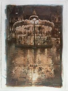 Carrousel- Gum Bichromate,Watercolour, city, Paris, 21st Century, color, one off