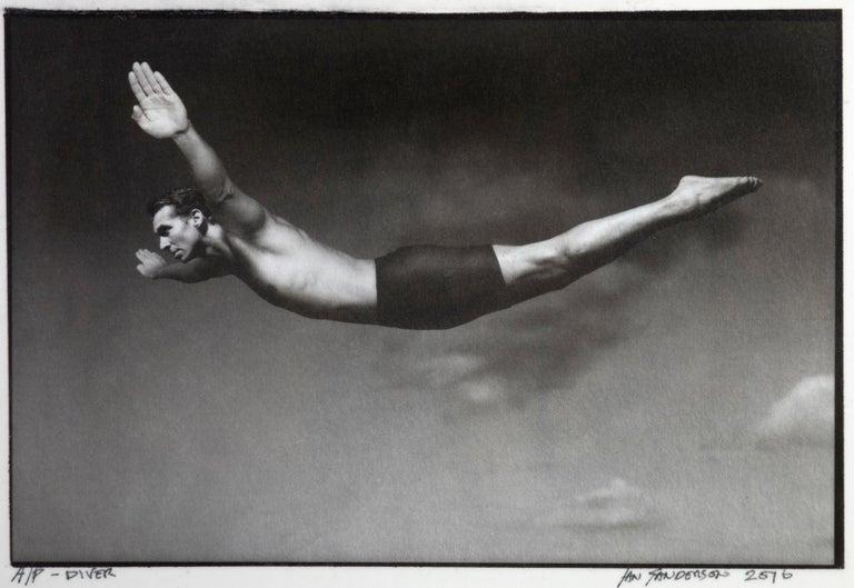 Ian Sanderson Black and White Photograph - Diver -Platinum Palladium print on vellum over silver, limited edition of 5
