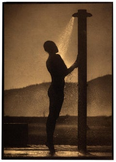 Beach Shower, Platinum Palladium print on vellum over 24 carat gold,Edition of 5